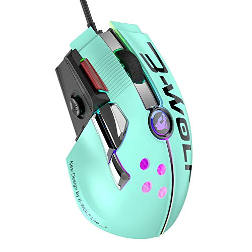 Wired Gaming Mouse Up to 12000 DPI,Pixart 3325 Gaming Chip,Chroma RGB,11 Macro Programmable Buttons+Rapid Fire,Joystick Ultralight Honeycomb Mouse for PC Gamers Xbox/PS4 (Green)