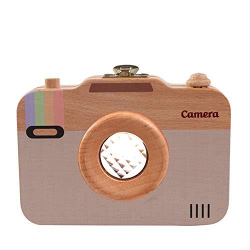 Style de Caméra Bébé Boîte à Dents Organisateur en Bois Respectueux de LEnvironnement Safe Box Souvenir pour Les Enfants Dents Caduques et Lanugo - Une Couleur