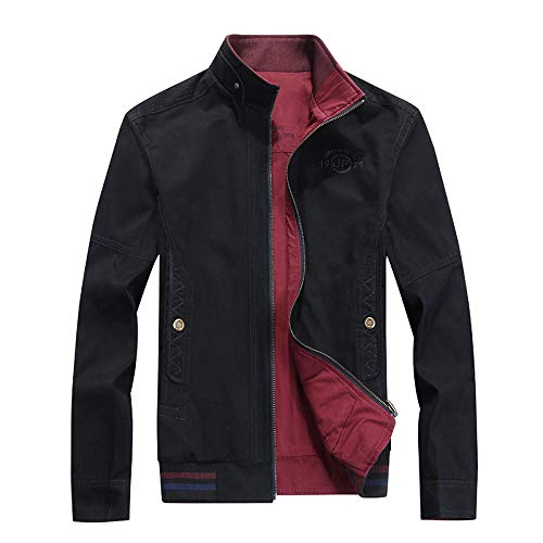 Mens Full Jacket Padded Double Layer Button Winter Coat Washed Cotton Jacket Double Side-Black_XXXL