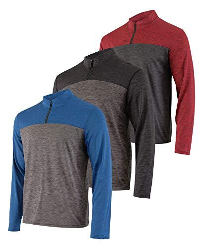 3er Pack: Herren Active Dry-Fit Quarter Zip Long Sleeve Outdoor Athletic Performance Pullover - Gelb - 3X-Groß