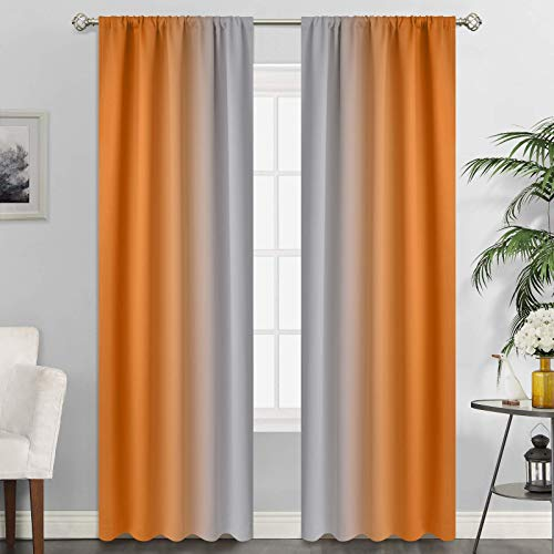 SimpleHome Ombre Room Darkening Curtains for Living Room, Rod Pocket Light Blocking Gradient Orange to Greyish White Thermal Insulated Window Curtains Drapes for Bedroom, 2 Panels, 52x84 inches Length