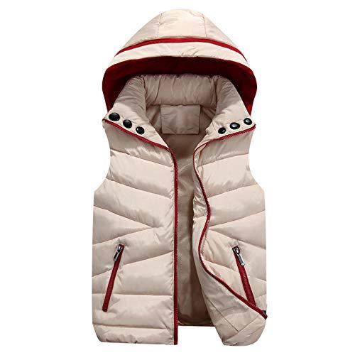 CVMFE Chaqueta de plumón para hombre, chaleco de invierno con capucha, sin mangas, chaleco de algodón para hombre, cálido, informal, chaleco Cc165 Khaki XL