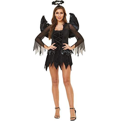 Vinteen Europa y América Ms Sexy Halloween Oscuro ángel de la Ropa del Uniforme del Juego Evil Angel Pretender ser un Fantasma Novia Regalo del Festival (Color : Negro, tamaño : L)
