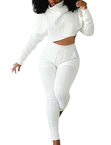 HAHAEMMA Damen Sexy Frühling Übergroße 2 Teiler Trainingsanzug Sportanzug Sweatshirt Trousers Bauchfrei Gestrickte Jogginganzug Hohe Kragen Pulli Sport 2pcs(WH,S)