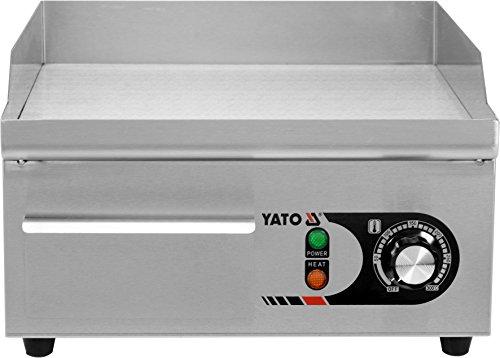 YATO Profi Gastro elektrische Grillplatte | 36x38 cm | glatt | 2000 Watt | Griddle Platte Bräter Grill Indutrie Imbiss