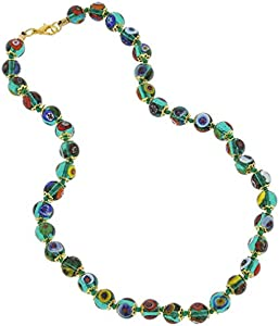 GlassOfVenice Collar de mosaico de cristal de Murano, verde transparente