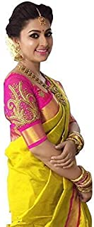 Clopic Women's Yellow Colour Cotton Silk Saree With Blouse Piece (Free Size)