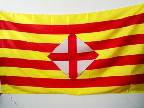 AZ FLAG Flagge Provinz Barcelona 150x90cm - Barcelona Fahne 90 x 150 cm Scheide für Mast - flaggen Top Qualität