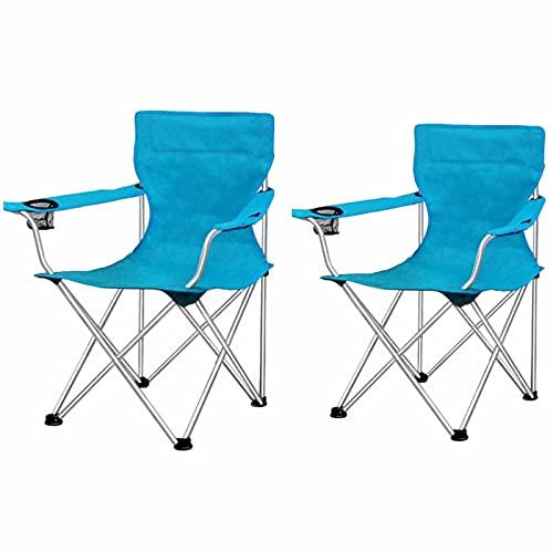 QAZW Silla de Camping Plegable Portátil con Portavasos con Reposabrazos y Bolsa de Transporte y Almacenamiento, Paquete de 2,Blue