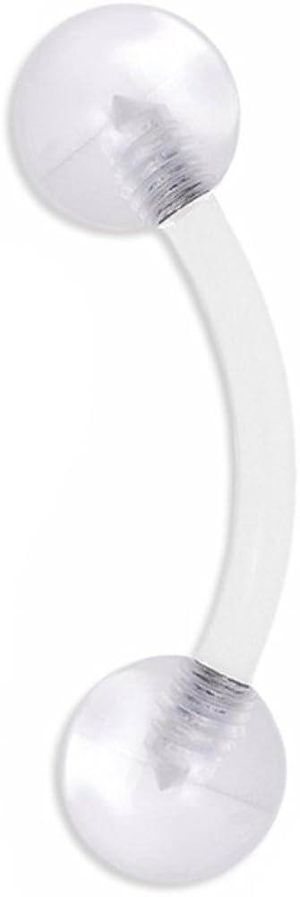 BodyJewelryOnline 16g Clear Bioflex Curved Eyebrow Ring Body Jewelry PiercingWith Uv Ball Clear 16G 5/16