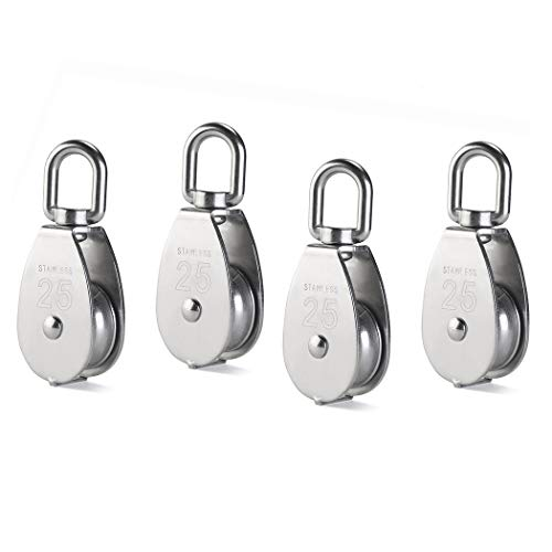 4Pcs M25 Single Pulley Block, Creatiee 304 Stainless Steel Pulley Roller, Crane Swivel Hook Smooth Wire Rope Cable Loading 150 kg