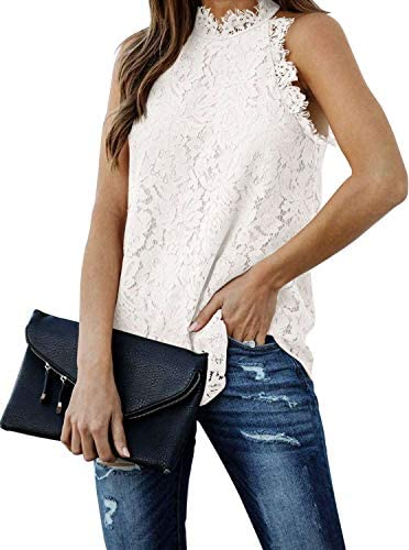 Women s Summer Tops Neck Clubwear Blouse Lace Crochet Tank Top Sleeveless Casual Basic Tee Shirts product image