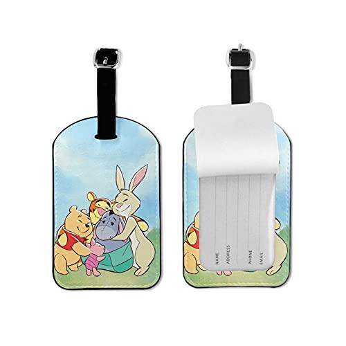 Winnie Cartoon Pooh de alta calidad PU cuero profesional personalidad DIY impresión diseño maleta privacidad equipaje etiqueta moda