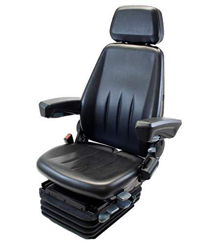 Pneumatisch gefederter Nutzfahrzeugsitz HMNFZT6, Schleppersitz, Traktorsitz Harita Terra T6 mit langer Rückenlehne - PVC-Bezug -