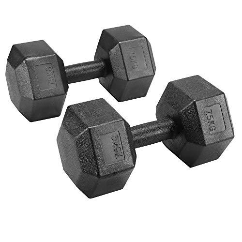 Yaheetech Lot de 2 Haltères Hexagone/Paire d'haltères Dumbbell Musculation Fitness pour Homme et Femme en Fer et PVC Noir 10 kg