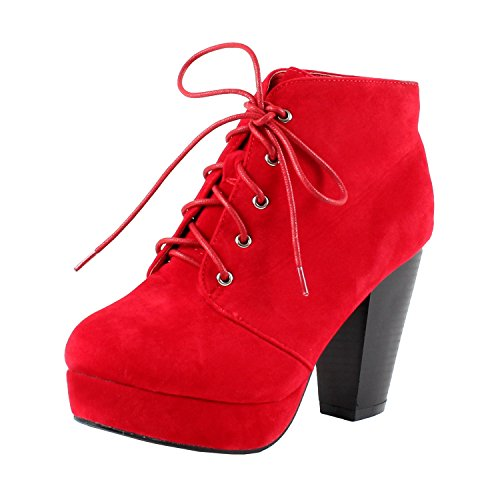 Forever CAMILLE-86 Women's Comfort Stacked Chunky Heel Lace Up Ankle Booties, Color:RED, Size:7.5