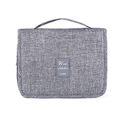 Accrochant trousse de toilette sac à cosmétiques - Grande capacité, maquillage, organisateur de voyage, sacoche pour femmes hommes, kit avec crochet pour les vacances, gris