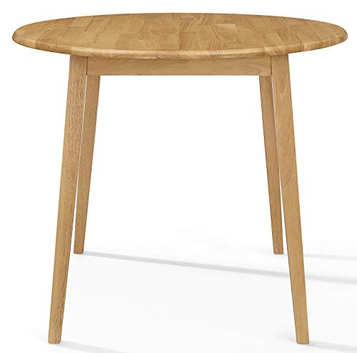 Ledbury Small Wooden Kitchen Drop Leaf Round Dining Table | 100% Solid Wood Diner Table in Light Oak Finish