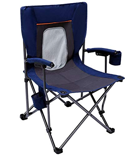 PORTAL Case of 500 Packs, Mesh Back Mountaineering Leisure Camping Quad Folding Chair with Cup Holder and Pouch Blue
