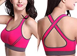 ALBATROZ Women Sexy Cross Straps Sports Bra, Push Up Shockproof Fitness Yoga Bras, Seamless Crop Top Stretch Gym Athletic Vest Free Size High Intensity(30 to 36)
