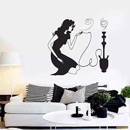 Calcomanía de pared de cachimba para niña, calcomanías de pared para fumar, pegatinas de vinilo impermeables, decoración del hogar para sala de estar, café, Hotel, 61 * 57Cm