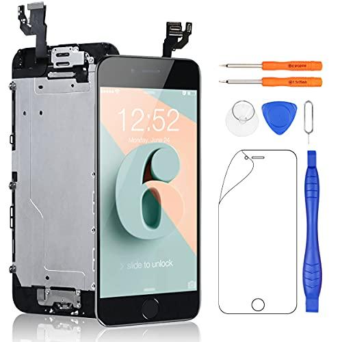 Yodoit Completo Display per iPhone 6 Nero, 4,7'' Schermo Retina LCD Vetro Touch Screen Digitizer Parti di Ricambio (con Home Pulsante, Fotocamera, Sensore Flex) Utensili Inclusi