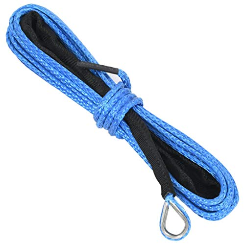 Festnight Windenseil Nylonseil Kabelschlepp Seil ATV Winde Linie Seilwinde Forstseil Winden Synthetisch Kunststoffseil Blau 5 mm x 9 m