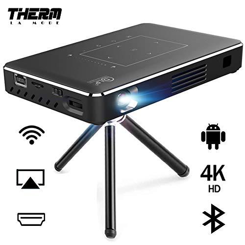 Proiettore portatile Therm 4K Ultra HD Mini Smart WiFi DLP Videoproiettore Android 150 ANSI Lumen con supporto wireless / USB / HD-IN / 2GB RAM / 32G Supporto 1080p Film Outdoor / Home