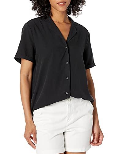 28 Palms Women's Loose-Fit 100% Silk Solid Blouse Shirt, Black, X-Large