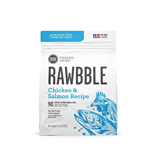 BIXBI Rawbble Freeze Dried Dog Food, Chicken & Salmon Recipe, 4.5 oz - 94% Meat and Organs, No Fillers - Pantry-Friendly Raw Dog Food for Meal, Treat or Food Topper - USA Made in Small Batches