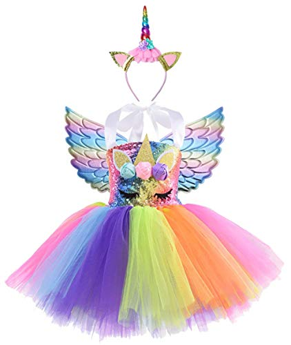 Simplecc Princess Party Dress for Girls Unicorn Dress Birthday Party with Headband and Wing Size 4T 5T 6T 7T 8T 9T 10T (Rainbow Sequin, 9-10 Years)