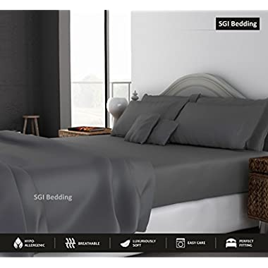 SGI bedding 1000 Thread Count Egyptian Cotton Sheets Full 4 Piece Sheet Set Dark Grey Solid