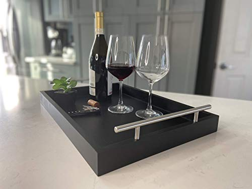 Decorative Coffee Table Tray - bar Tray - Serving Tray with Metal Handles - Breakfast in Bed Tray - tv Remote Tray - 18 x 13 - Ottoman Tray - no Assembly Required