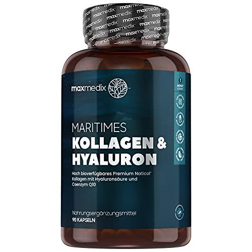 Kollagen Hyaluronsäure Kapseln - 1200mg NatiCol Meereskollagen mit Hyaluronsäure & CoQ10 - Laborgeprüft in Deutschland - Collagen Complex mit Zink, Vitamin C & Aloe Vera -...