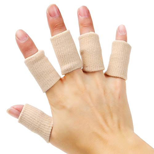 Senkary 20 Pieces Finger Sleeves Protectors Thumb Brace Support Elastic Compression Protector for Relieving Pain, Arthritis,Trigger Finger, Sports (Beige)