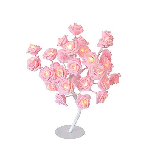 LED Rose Fleurs Table Lampes Bureau Night Light Éclairage Intérieur Accueil Chambre Festival fête Cadeau Rose 、 Blanc (Color : Pink-21 * 43cm)