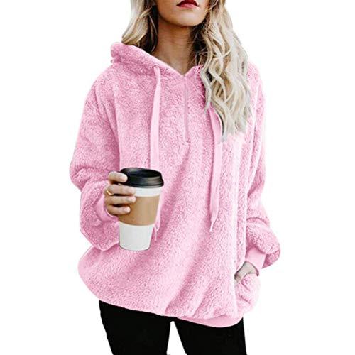Minetom Damen Lange Ärmel Einfarbiger Kapuzenpullover Mantel Sweatshirt Frauen Hoodie Jumper Pullover Kapuzenpulli Pink DE 42