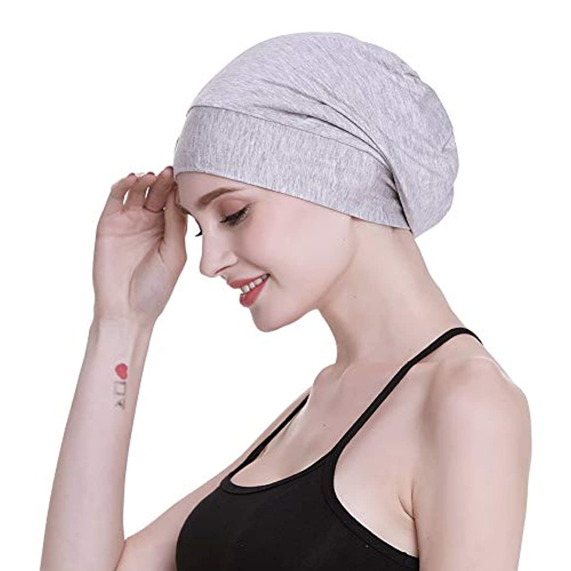 FocusCare Satin Lined Sleep Slouchy Cap Curly Girl Slap Headwear Gifts for Frizzy Hair Women