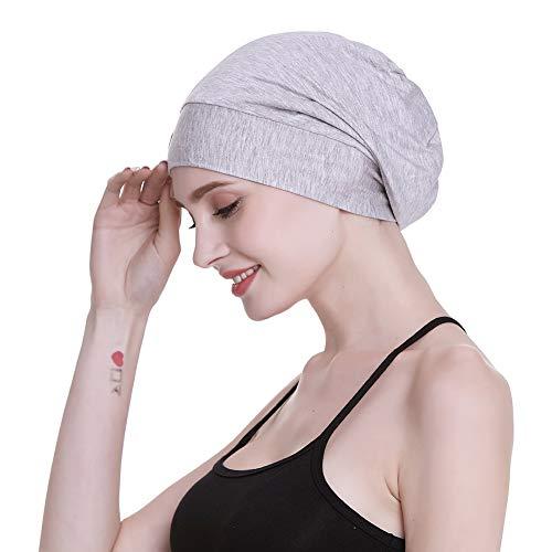 FocusCare Damen satin gefüttert schlaf slouchy cap curly slap kopfbedeckung geschenke für kraus haar eine größe passt meistens licht gesundheit grau