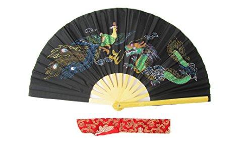 CHN Elements.accessories FD-DP-Black-Bamboo Folding Fan Tai Chi Fan/Kung Fu Fan/Martial Arts/Dancing Fan Oriental Design-Dragon&Phoenix