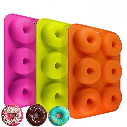 Silicone donut stampi 3confezione 6stampi antiaderenti Safe teglia Maker pan al calore senza BPA donut Mold muffin tazze anello biscotto stampo per dolci e biscotti Bagels by Meiso
