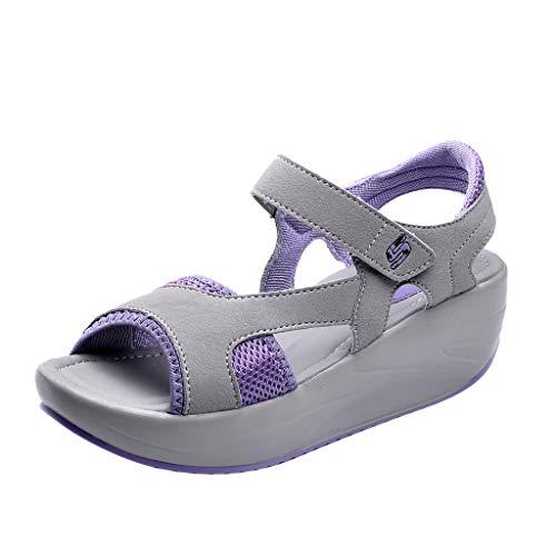 Luckhome Arbeitsschuhe Damen Fitness Schuhe Damen Lieferung Nicht Erhalten Turnschuhe Damenmode lässig Peep Toe atmungsaktiv dicken Boden Sandalen Sportschuhe(Lila,EU:35)