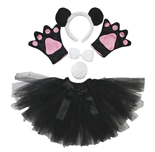 Petitebelle Panda-Stirnband Bowtie Schwanz Glove Rock 5pc Partei-Kostüm für Mädchen Einheitsgröße Einheitsgröße