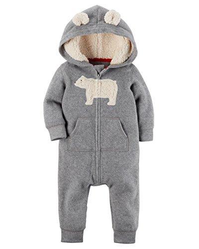 Carters Baby Boys Fleece Hooded Romper Jumpsuit, Grey Bear, 3 Months