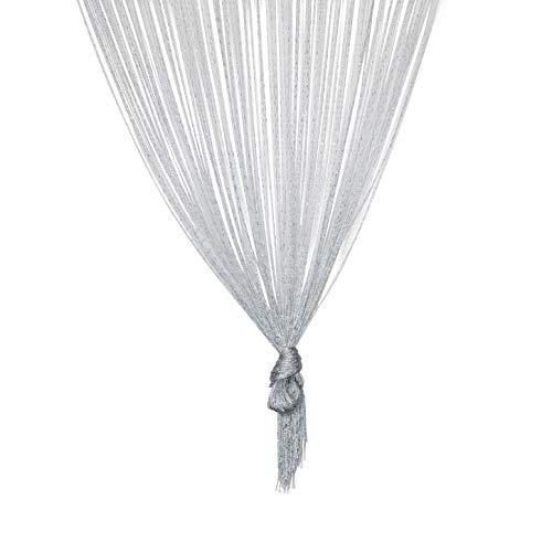 TRIXES Silber Fadenvorhang im Tautropfen Design als Raumteiler Fliegenschutz oder als Festliche saisonale Dekoration 90cm x 200cm