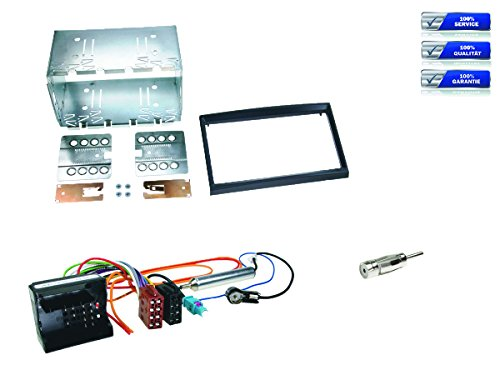 Kit completo de montaje de radio doble DIN para Citroën C2 / C3 / Berlingo / Jumpy, color negro