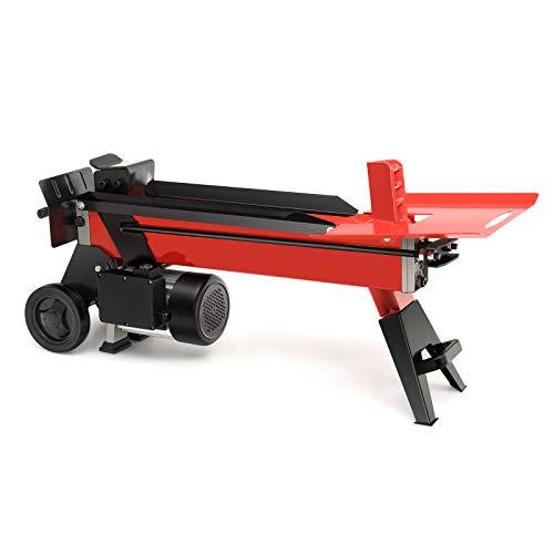 Goplus Electric Log Splitter, 7-Ton Hydraulic Horizontal Wood Splitter w/ 2000W Motor, Durable Transport Wheels and Control Lever Guard, Red