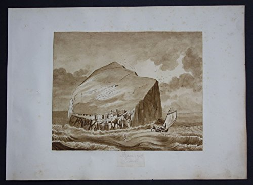 - Bass Rock Scotland island watercolor Aquarell Biedermeier