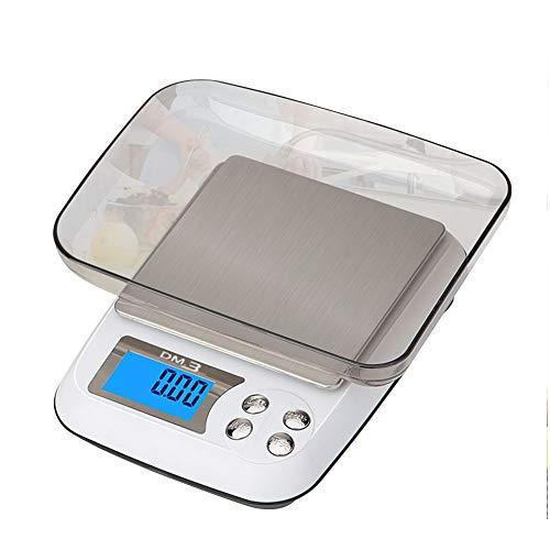 QAQ Mini Alta Precisión Electrónica Báscula De Cocina Carga USB 3kg/0.1g 500g/0.01g Repostería Joyería,White,OneSize(500g/0.01g)