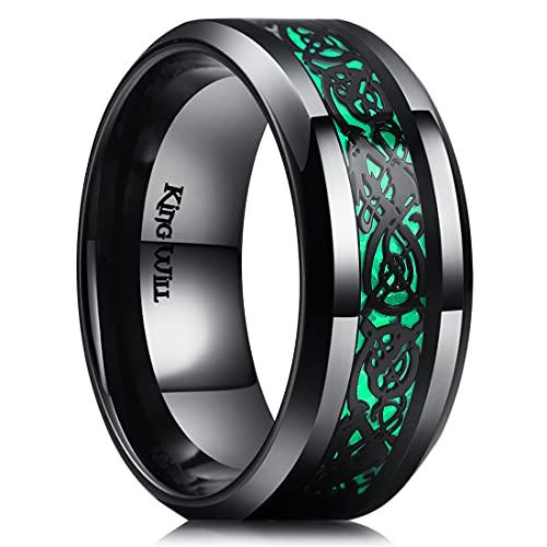 King Will 9mm Dragon Black Stainless Steel Green Carbon Fibre Black Celtic Dragon Inlay Wedding Ring for Men Women 10